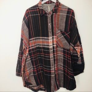 Free people flannel top button down size large